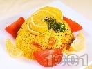 Рецепта Паеля с бял ориз, пилешко месо, скариди, зелен фасул и шафран